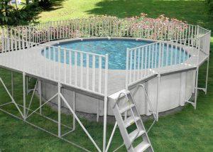 Aluminum deck walk fence combos for Above ground pool decks aluminum