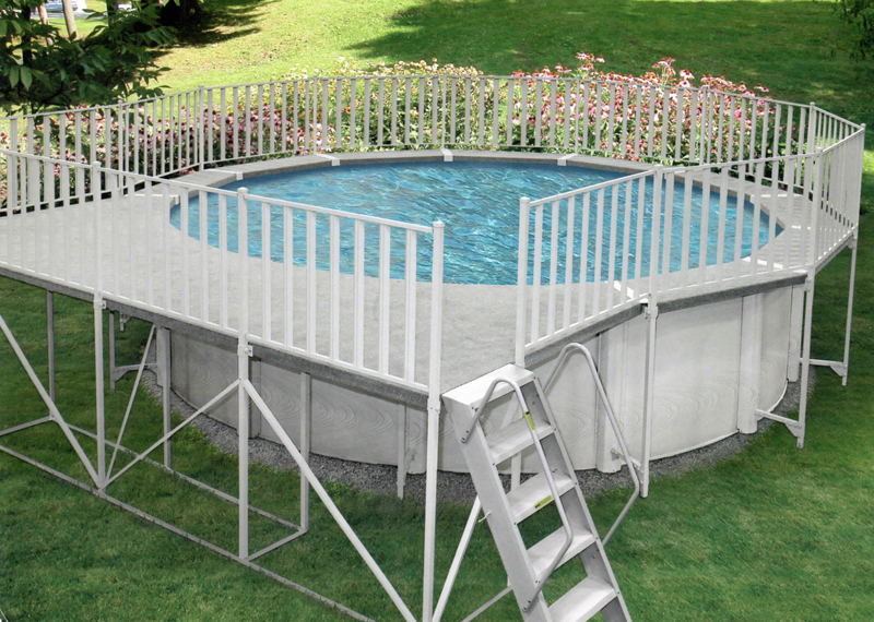 Aluminum deck walk fence combos for Above ground pool vinyl decks